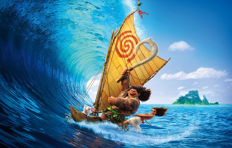 Фото обои море, тропики, оружие, лодка, волна, остров, мультфильм, ожерелье, тату, девочка, парус, серфинг, приключения, постер, Walt …