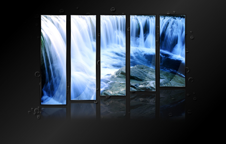 Фото обои вода, отражение, коллаж, блеск, капля, водопад, crystal waterfall
