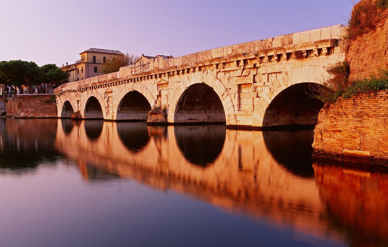 Фото обои Вода, Дома, Отражение, Мост