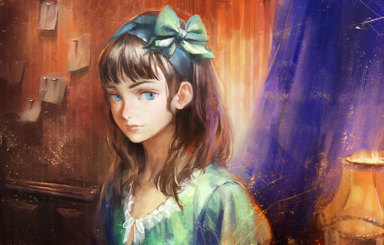 Фото обои глаза, взгляд, лицо, комната, лампа, арт, девочка, бант