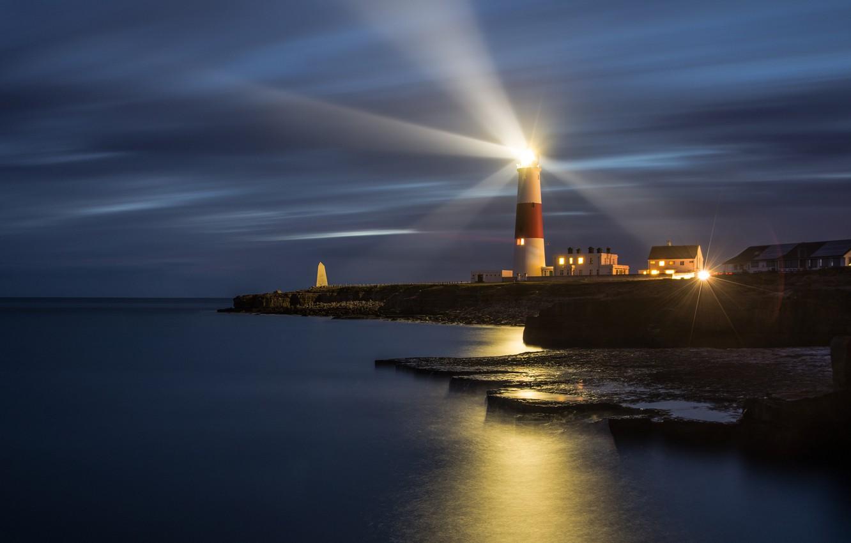 Фото обои огни, маяк, Великобритания, Dorset, Дорсет, Isle of Portland, Portland Bill Lighthouse