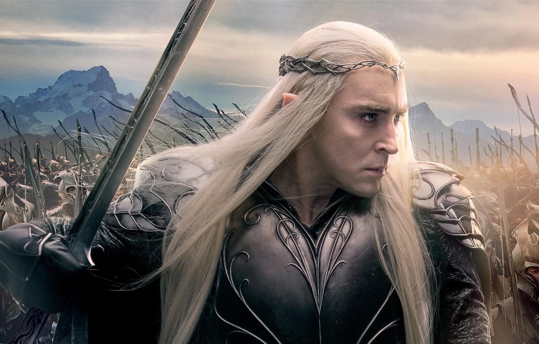 Фото обои меч, доспехи, фэнтези, эльфы, постер, король, войско, elf, Mirkwood, King, Thranduil, Lee Pace, Ли Пейс, …