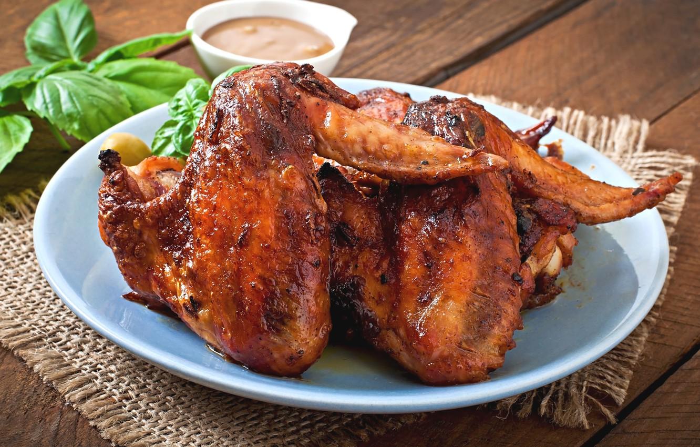 Фото обои мясо, крылышки, жареный