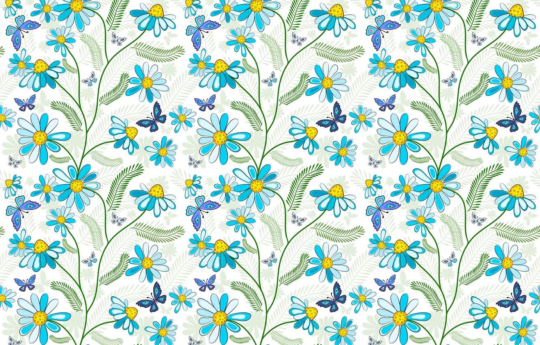 Фото обои бабочки, цветы, голубой, узор
