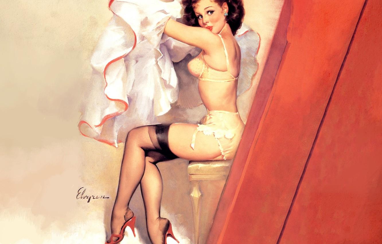 Фото обои белье, чулки, брюнетка, стул, art, pin-up, подглядывание, Gil Elvgren, кокетка, пышная юбка