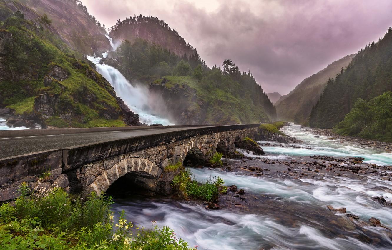 Фото обои мост, природа, река, водопад, Norway, Odda, Låtefossen
