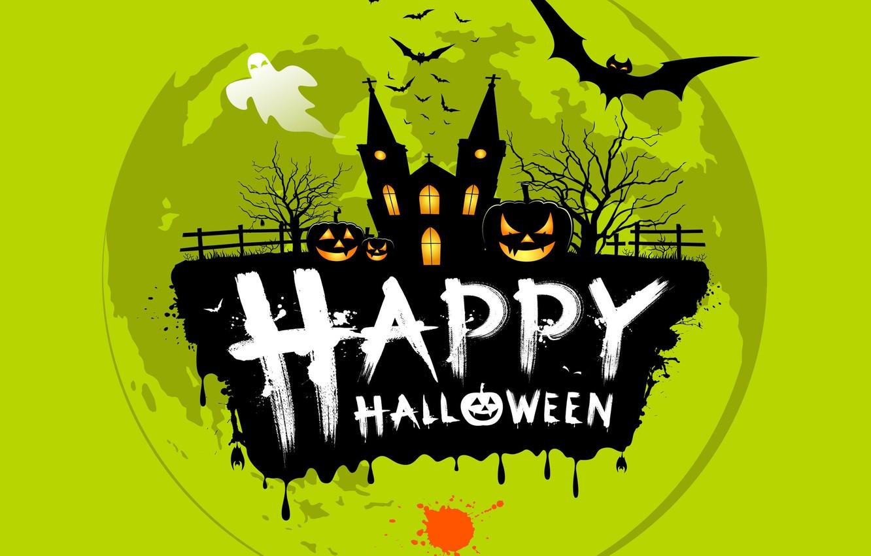 Фото обои деревья, надпись, клякса, ограда, призрак, церковь, тыква, Хеллоуин, летучие мыши, Helloween, happy halloween