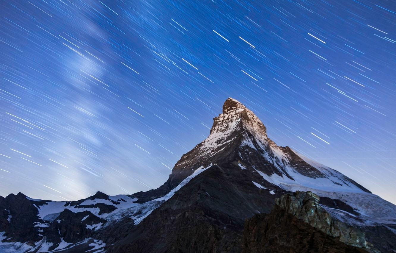 Фото обои небо, звезды, горы, ночь, гора, вершина, Маттерхорн