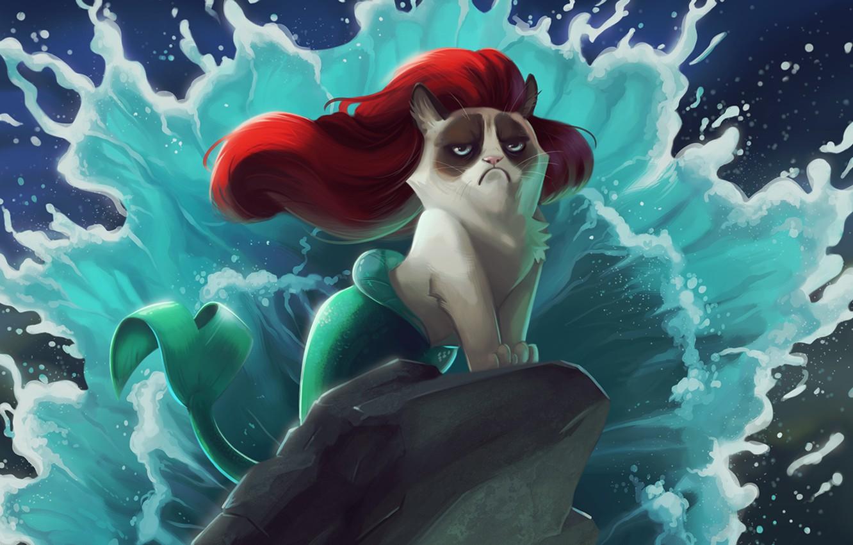 Фото обои кот, мультфильм, русалочка