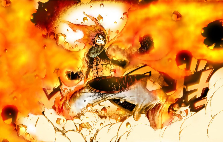 Фото обои огонь, аниме, арт, парень, Fairy Tail, Сказка о хвосте феи, Natsu Dragneel, Нацу
