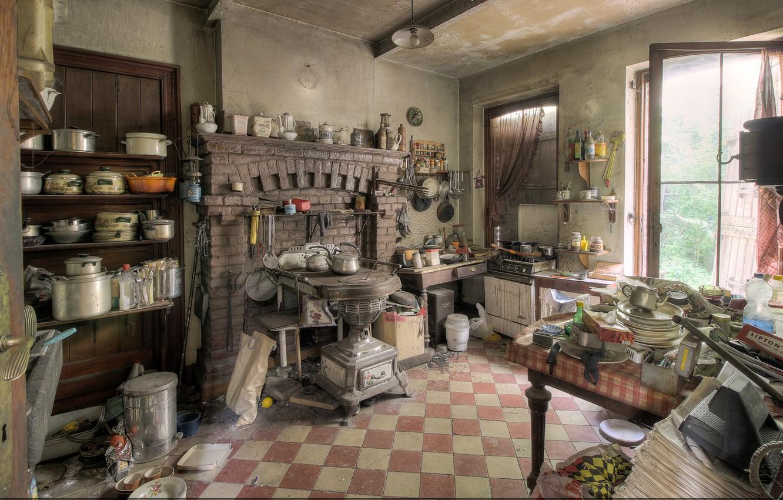 Фото обои интерьер, кухня, посуда