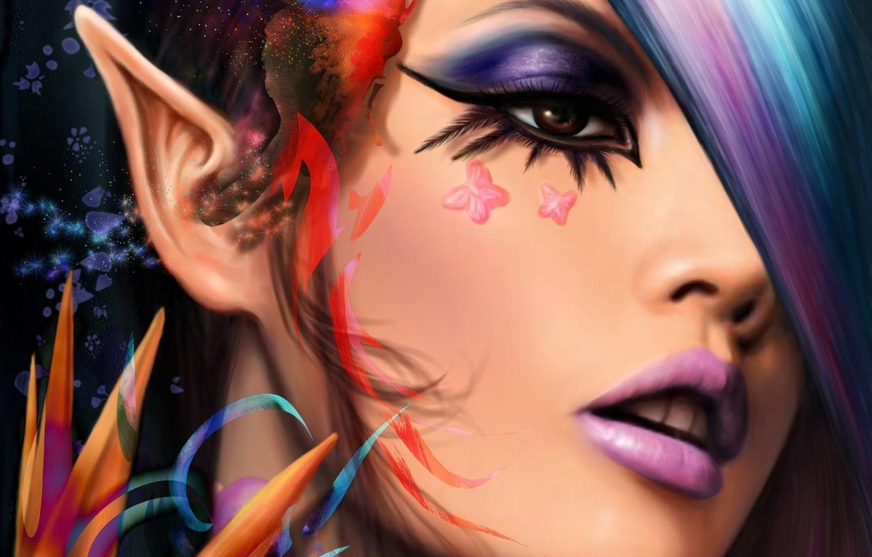Фото обои взгляд, бабочки, лицо, макияж, арт, эльфийка, уши