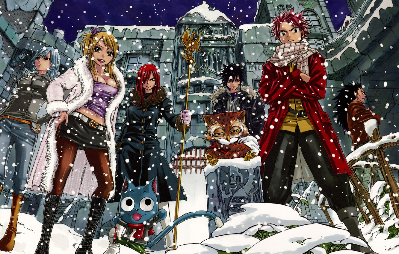 Фото обои снег, девушки, аниме, арт, парни, Fairy Tail, Сказка о хвосте феи, Erza Scarlet, Juvia Loxar, …