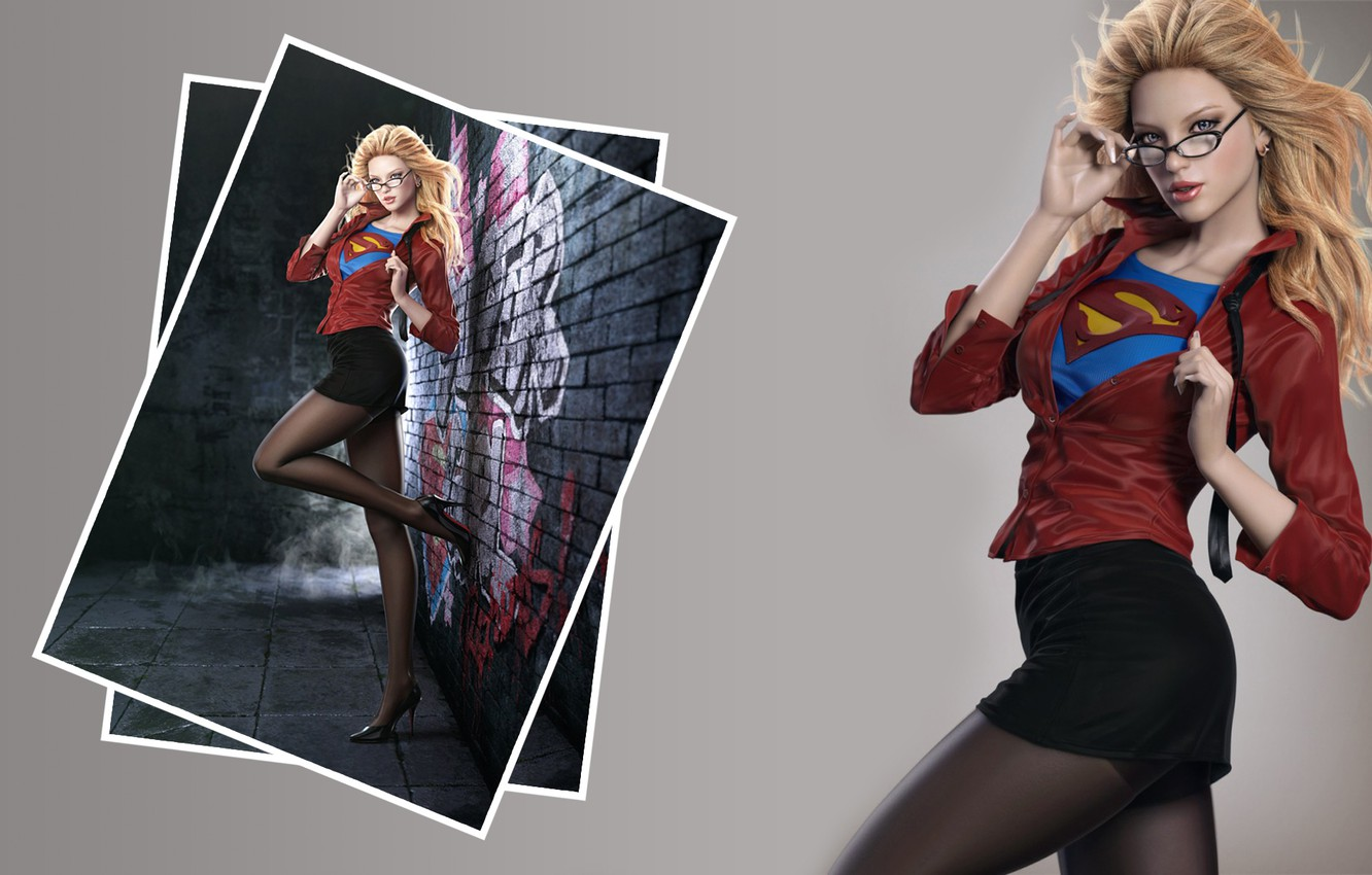 Фото обои sexy, legs, blonde, shoes, clothing, pantyhose, heels, shirts, red blouse, super girl