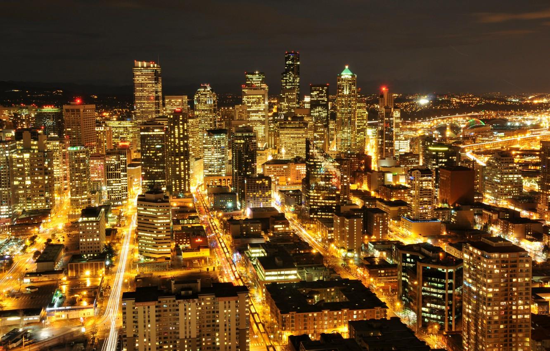Обои seattle, корабль, небоскребы, ночной город, сиетл, Залив Эллиотт, здания, штат Вашингтон, washington, Залив, Elliott Bay. Города foto 7