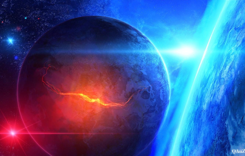 Фото обои космос, звезды, планеты, арт, разлом, QAuZ