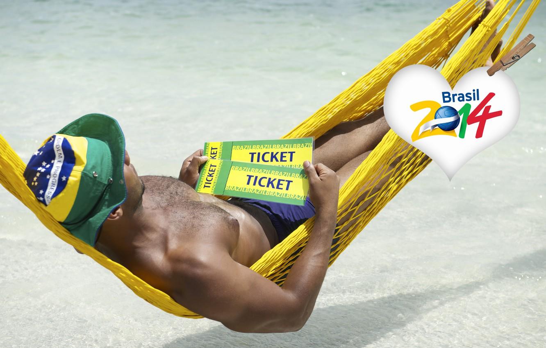 Фото обои logo, man, football, flag, World Cup, Brasil, FIFA, hammock, 2014, tickets