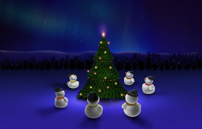 Фото обои ночь, синий, елка, новый год, снеговики