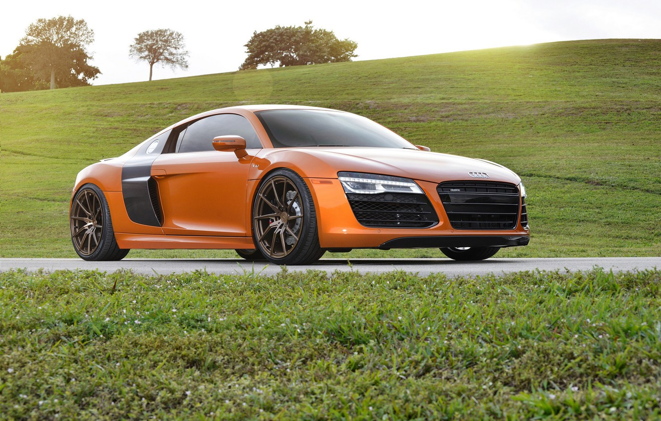 Фото обои Audi, Orange, Wheels, Strasse, Samoa, R8