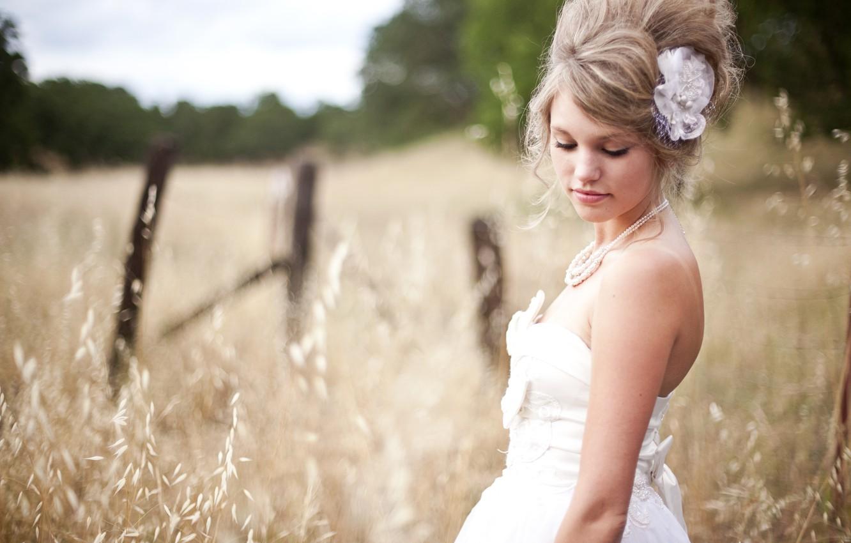 Фото обои пшеница, поле, девушка