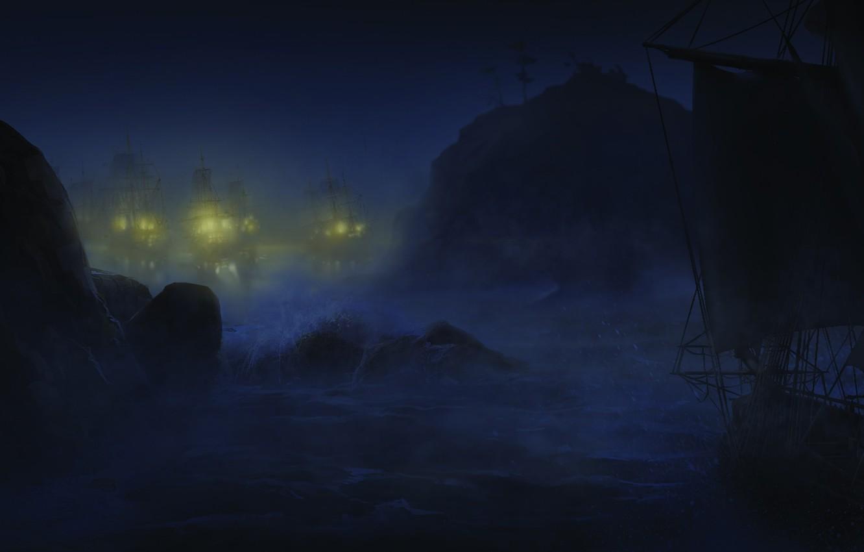 Фото обои море, волны, ночь, корабли, Assassin's Creed III, Кредо убийцы 3