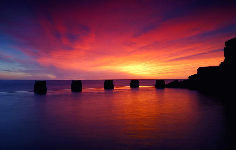 Фото обои море, небо, облака, закат, отражение, океан, Вечер, штиль