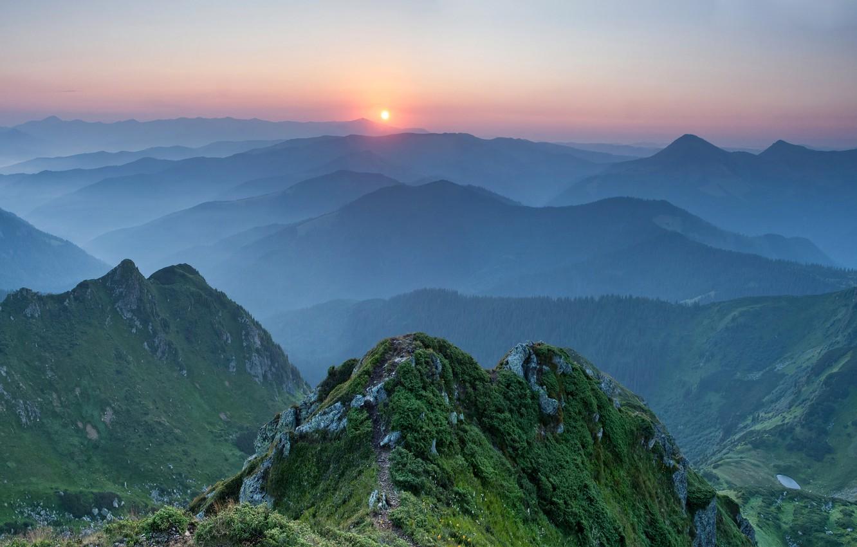 Фото обои закат, горы, Украина, Карпаты
