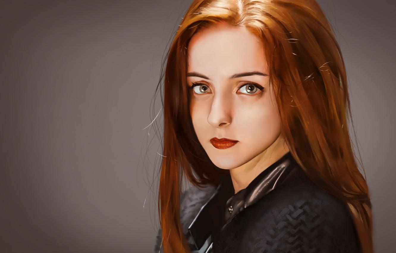 Фото обои взгляд, девушка, фон, макияж, арт, губы, рыжая, рыжие волосы