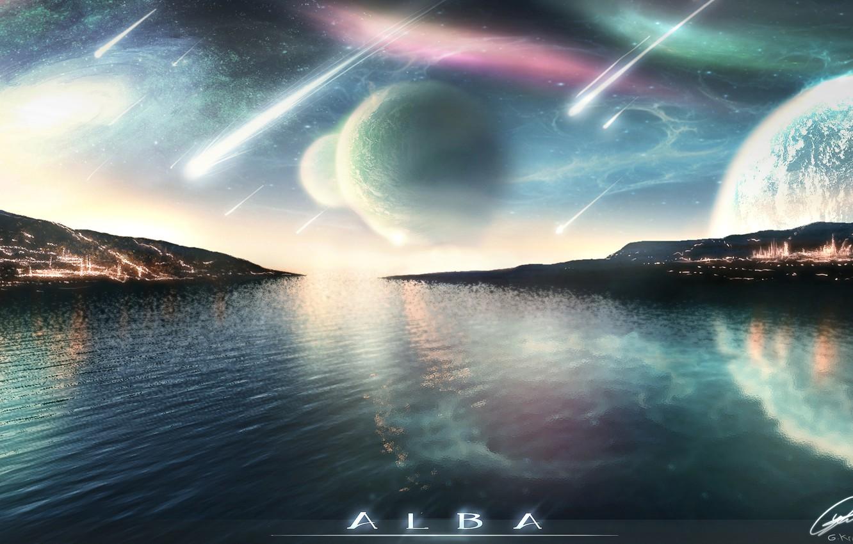 Фото обои небо, вода, сияние, планета, звёзды, падение, метеориты, Alba