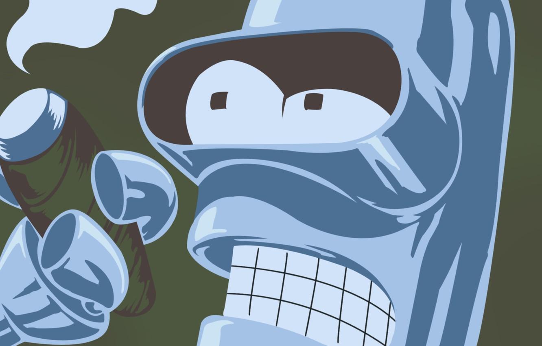 Фото обои дым, сигарета, Бендер, Футурама, Futurama, Smoke, Bender, Bender Bending Rodriguez, Cigarette, Бендер сгибатель Родригес, сгибающий …