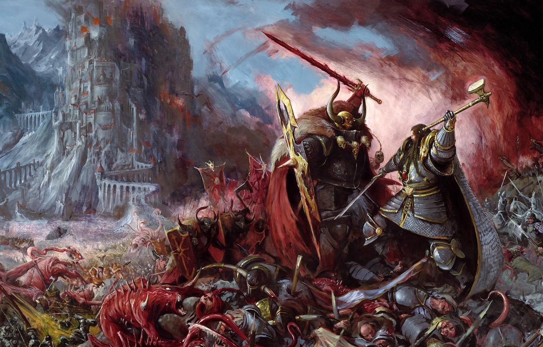 Фото обои люди, монстры, Битва, Warhammer, хаос