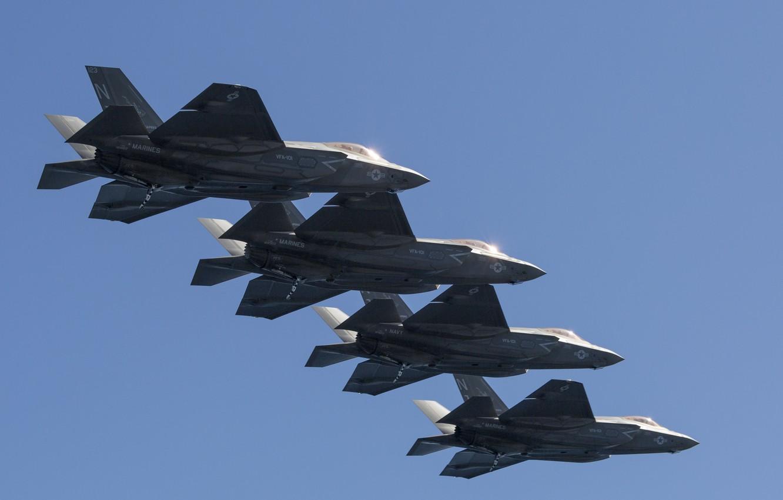 Фото обои истребитель, бомбардировщик, строй, Lightning II, F-35C