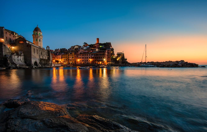Фото обои lights, sea, sunset, italy, vernazza