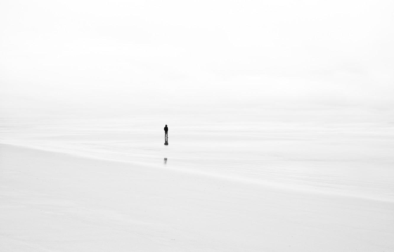 Фото обои туман, фон, человек