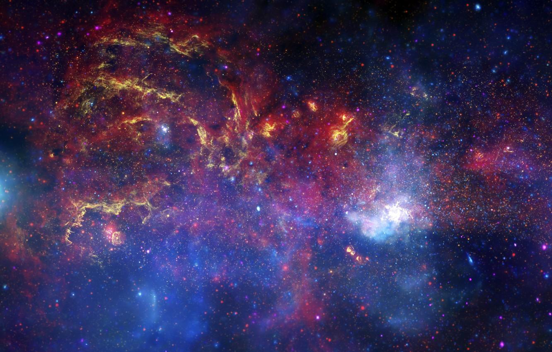 Фото обои Хаббл, Галактика, Млечный путь, телескоп, центр, Спитцер, Чандра