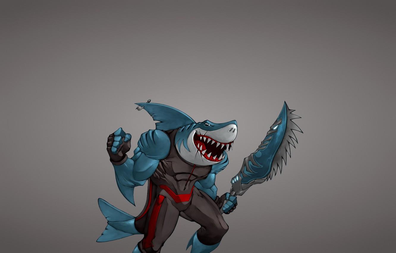 Фото обои оружие, минимализм, рыба, акула, меч, мутант, shark, fish, крючок, зубастая