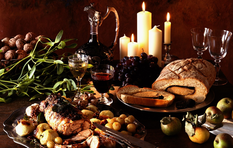 Фото обои вино, виноград, натюрморт, овощи, рулет, запеченное мясо