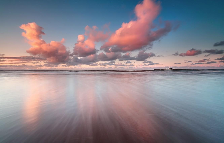 Фото обои море, небо, облака, отражения