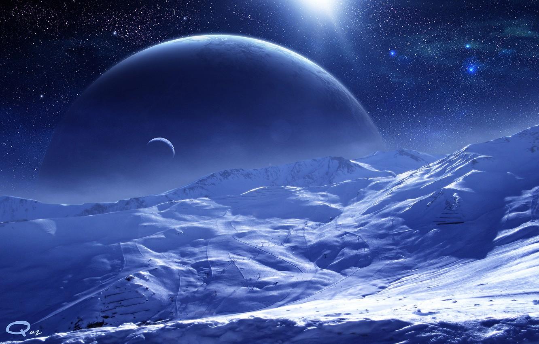 Фото обои космос, звезды, поверхность, снег, планеты, спутник, арт, QAuZ