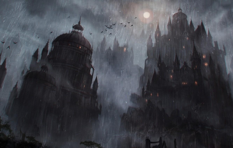 картинки фэнтези ночь луна замок причина сыпи паху