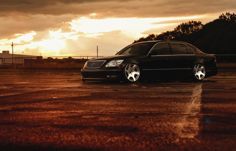 Фото обои Lexus, Front, Black, Color, Sunset, JDM, Stance, Low, LS 430