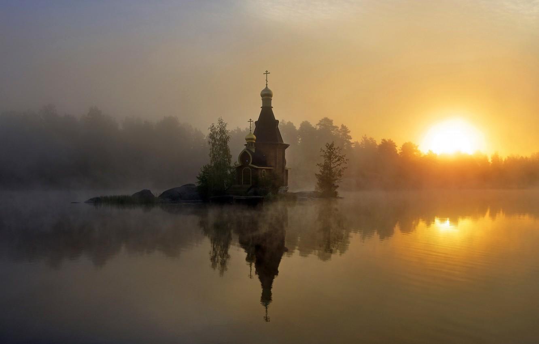 Фото обои туман, утро, церковь, Россия