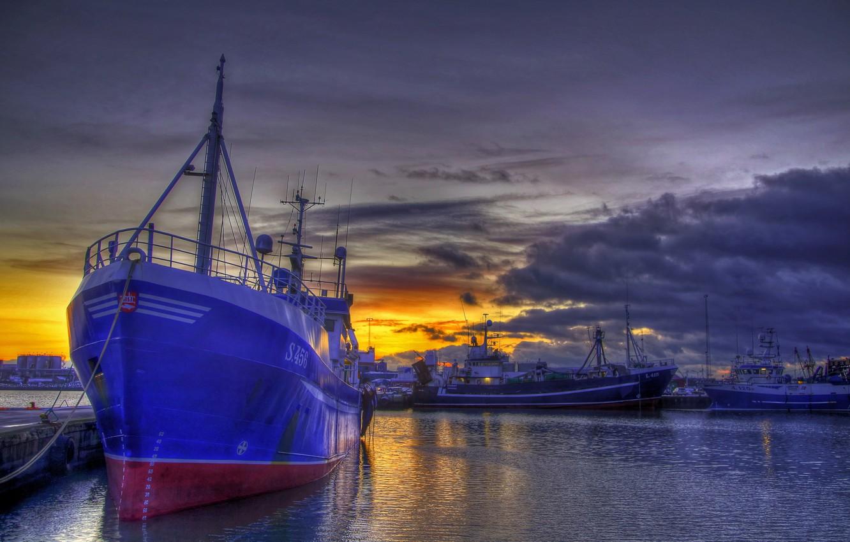 Фото обои ночь, корабль, порт