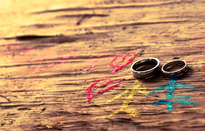 Фото обои кольца, пара, сердечки