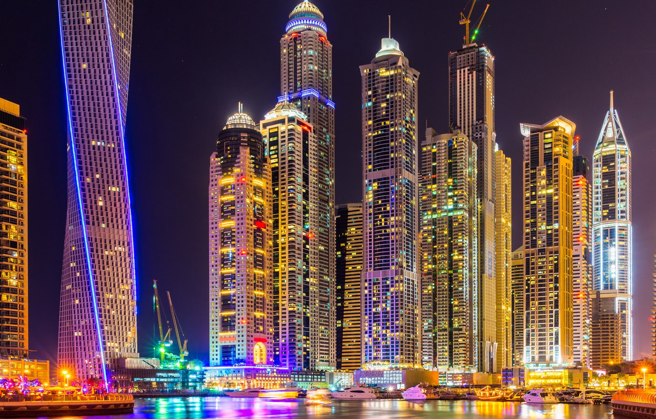 Фото обои city, lights, colorful, Dubai, night, skyscrapers, building, splendor, arab emirates