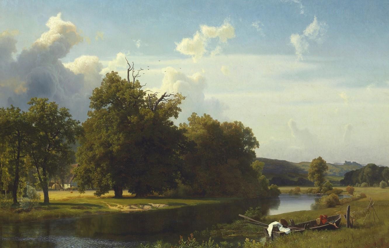 Фото обои пейзаж, река, лодка, картина, Альберт Бирштадт, Вестфалия