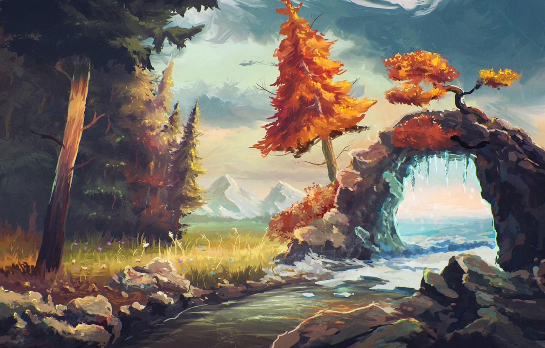 Фото обои лес, небо, вода, облака, деревья, река, арт