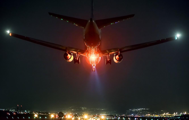 Обои Япония, ночь, Самолёт, Боинг 747. Авиация foto 15