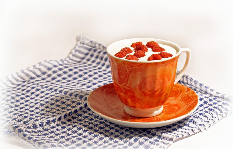 Фото обои оранжевый, ягоды, малина, чай, чашка, напиток, салфетка