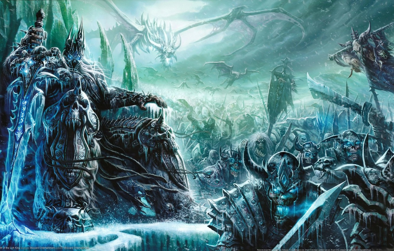 Фото обои игра, меч, арт, World of Warcraft, трон, гоблин, король, Mists of Pandaria, Lich King.